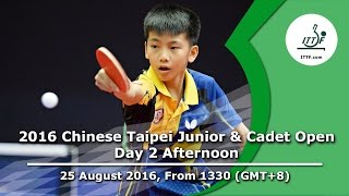 Download 2016 ITTF Chinese Taipei Junior & Cadet Open - Day 2 Afternoon Video