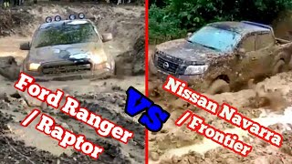 Download Ford Ranger / Raptor Vs Nissan Navara / Frontier 4x4 Extreme Off-road, Mudding, and River Crossing Video