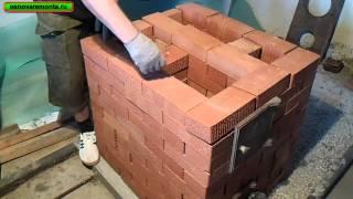 Download Подробная кладка печи 3х3,5 кирпича за 9 тыс. руб. 1-часть.(кухонная плита с отопительным щитком) Video