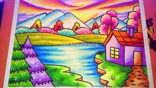 Cara Mewarnai Gradasi Langit Dan Awan Yang Cerah Ceria Dengan Crayon