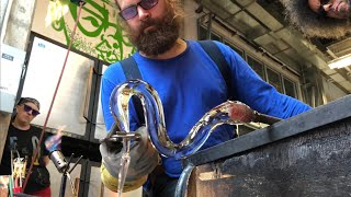 Download Glass artists Asp and Hand make a pitcher with a very cool handle Video