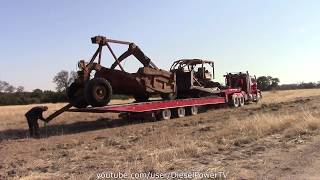 Download LOADING PULL SCRAPER WITH D7 DOZER ON SAME TRAILER!!! Video