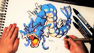 Download Gyarados Pokemon Drawing - Pixel Art Video
