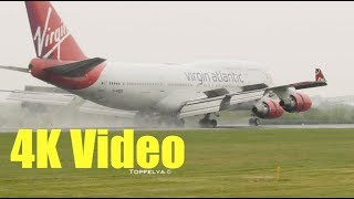Download 7 Different Aircraft landings on wet runway in 4K Video