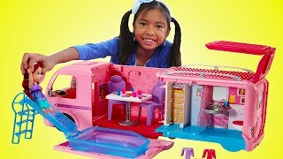 Download Wendy Pretend Play w/ Barbie Dream Camper Bus & Disney Princess Baby Doll Girl Toys Video