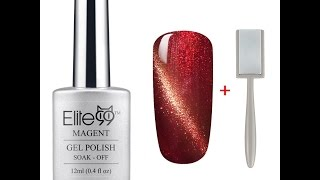 Download Elite99 3D Nail Gel Polish Magnetic Cat Eye Maroon with Gold Eye + Magnet Stick Video