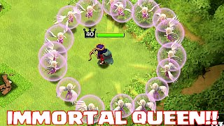 Download Clash Of Clans - IMMORTAL QUEEN TROLL (UNSTOPPABLE HERO ATTACK!!) Video