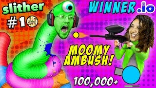 Download WINNER.IO HIGHEST SCORE EVER on Slither.io #10 Ruined by Paintball Gun Scare (FGTEEV 3x Win Diep.io) Video
