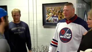 Download Brock Lesnar backstage at a hockey game Video