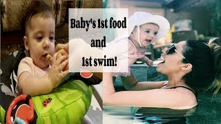 Download Baby tries food for the first time & Baby goes swimming for the first time! Video
