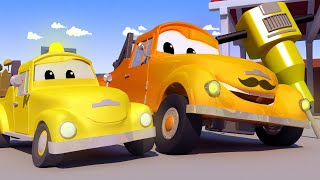 Download Dane the DEMOLITION CRANE gets STUCK in Some Wet Cement! - Tom The Tow Truck in Car City Video