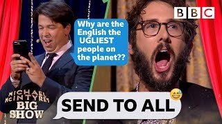 Download Josh Groban CRINGING with embarassment 😳😂 as Michael steals his phone to TRASH the UK - Send To All Video