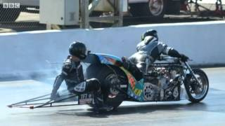 Download Santa Pod crash drag racer 'lucky to have two legs' Video