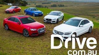 Download Audi A4 v BMW 330i v Jaguar XE v Lexus IS200t v Mercedes-Benz C250   Drive.au Video