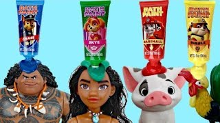 Download Disney MOANA Deluxe Adventure Set, Maui, Pua Pig, Hei Hei Rooster, Paw Patrol Bath Paint IRL / TUYC Video