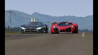 Download Battle Ferrari F80 Concept vs Mercdes-Benz Vision GT at Highlands Video