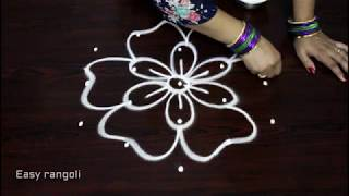 Download simple and easy rangoli designs with 5x3 dots || kolam designs || muggulu with dots Video
