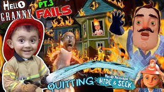 Download HELLO NEIGHBOR ON FIRE! Saved by Fireman Shawn (FGTEEV Part 3's of Hello Granny & Hide & Seek) Video