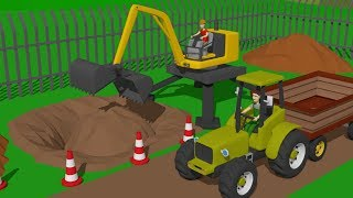 Download #Excavator and Cyclop Loader and Tractor with Trailer | Street and agricultural vehicles | Maszyny Video