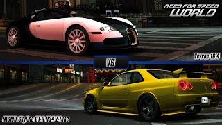 Download Need For Speed World: Bugatti Veyron 16.4 vs. Nissan NISMO Skyline GT-R R34 Z-Tune Video