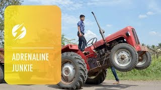 Download Indian Kid is Tractor Stunt Driver Video