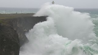 Download Huge Waves, Violent Eyewall Winds And Storm Surge - Typhoon Vongfong 4K / HD Stock Footage Screener Video