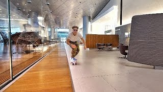 Download SKATEBOARDING IN A FIRSTCLASS LOUNGE Video