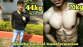 Download 6 Months Natural Body transformation from skinny 44kg to muscular 70kg Video