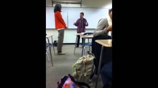 Download Kid on mushrooms in school tells a story. Video