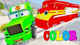 Download Learn Color Cars & Truck In Trouble W Train Trev Diesel By Spiderman Cars Cartoon Songs For Kids Video