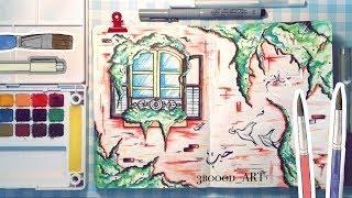 Download رسمة رائعة بالالوان المائية 🔥😍💖 و مراجعة بسيطة لألوان كُوي المائية 🎨🖌💜 | watercolor drawing Video