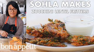 Download Sohla Makes Red Lentil Zucchini Fritters | From the Test Kitchen | Bon Appétit Video