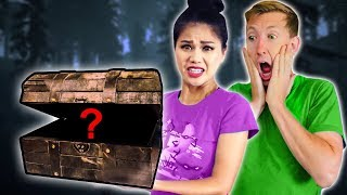 Download FOUND HAUNTED TREASURE CHEST Exploring ABANDONED DESERT Mystery Box Unboxing Challenge Haul Video