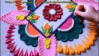 Download Very easy and beautiful rangoli for holi l kolam muggulu l कैसे रंगोली डिजाइन बनाने के लिए Video