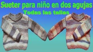 Download Sueter Jersey para niños tejido en dos agujas Todas las tallas parte #1 / Gentleman's sweater Video