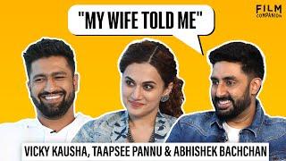 Download Interview With Abhishek Bachchan, Taapsee Pannu & Vicky Kaushal | Manmarziyaan | Anupama Chopra Video