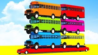 Download FUN LEARN COLORS SCHOOL Bus on LONG CARS & SUPERHEROES Video Spiderman Cartoon for Kids Children Video