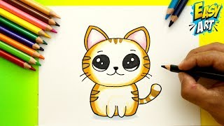 Download Cómo Dibujar un Gato estilo CUTE - How to Draw Cat - Dibujos Kawai - Easy Art Video