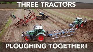 Download Three Tractors Ploughing Together Video