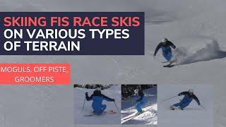 Download Skiing FIS Race skis on various types of terrain (moguls, groomed blue, groomed black) Video