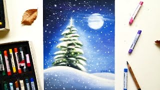 Download Christmas tree in the snow drawing with soft pastels | Leontine van vliet Video