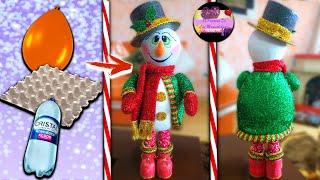 Download Muñeco de nieve parado con sombrero de copa hecho con materiales reciclados (Moldes Gratis) | Epdlm Video