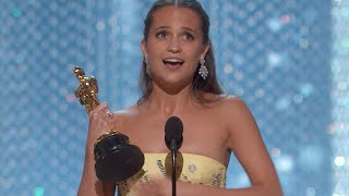 Download Alicia Vikander winning Best Supporting Actress Video