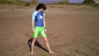 Download Poses for a photo shoot. model wearing green and blue lycra spandex clothes Video