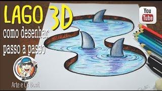 Download Como desenhar Lago com Tubarões Efeito 3D Video