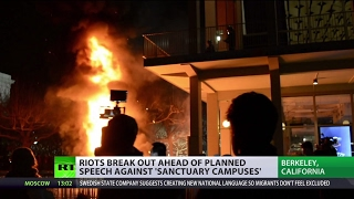Download 'US media create hysteria': Protesters crash UC Berkeley to prevent Breitbart News editor's speech Video