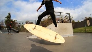 Download KICKFLIPPING A SURFBOARD AT A SKATEPARK?!   SKATE EVERYTHING EP 10 Video