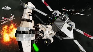 Download FULLY CREWED REBEL vs EMPIRE SPACE BATTLE with Escorts - Space Engineers Video