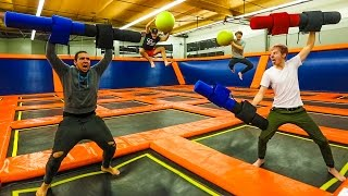 Download OVERNIGHT IN A TRAMPOLINE PARK! (WE GET CAUGHT!) Video