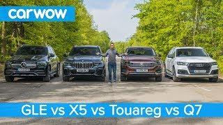Download BMW X5 v Mercedes GLE v Audi Q7 v VW Touareg - which is the best premium SUV? Video